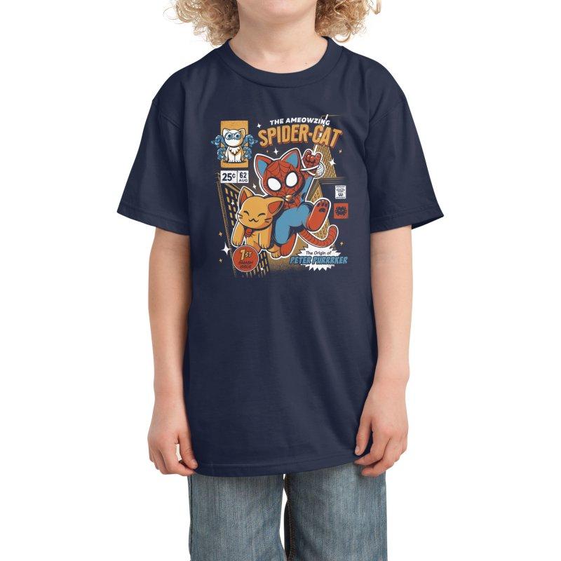 Spider Cat Kids T-Shirt by ilustrata