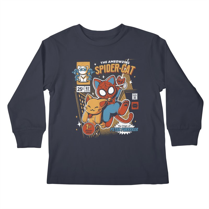 Spider Cat Kids Longsleeve T-Shirt by ilustrata
