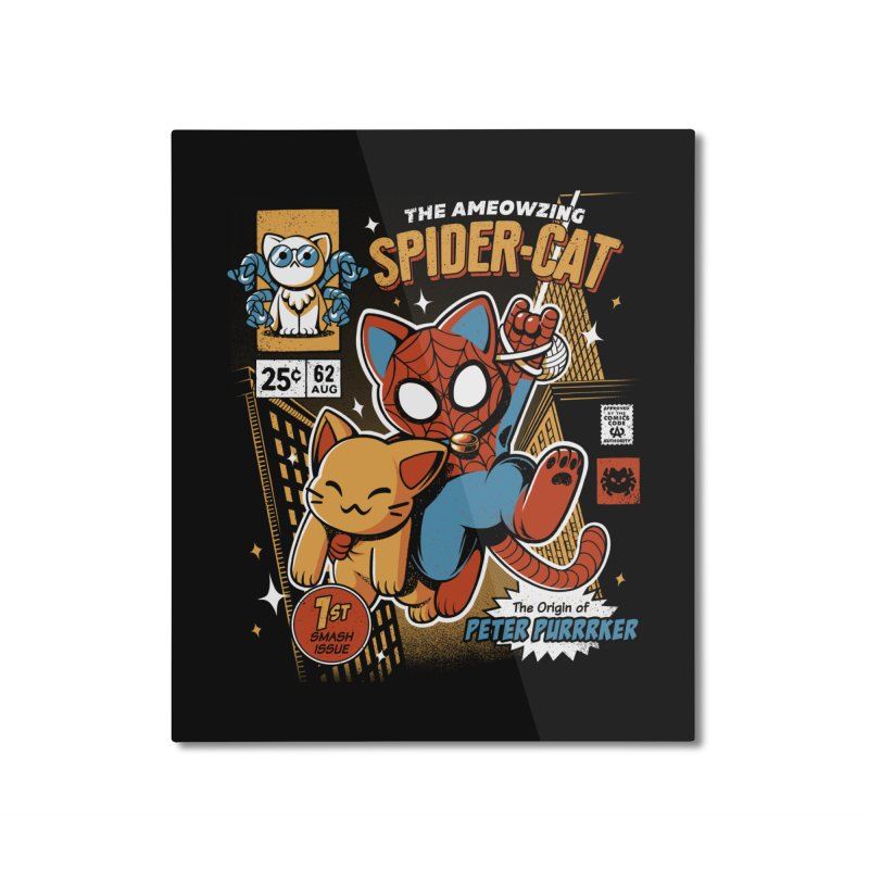 Spider Cat Home Mounted Aluminum Print by ilustrata