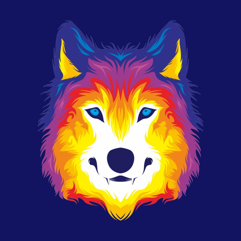 Wolf in color Men's T-Shirt by Imagi Factory