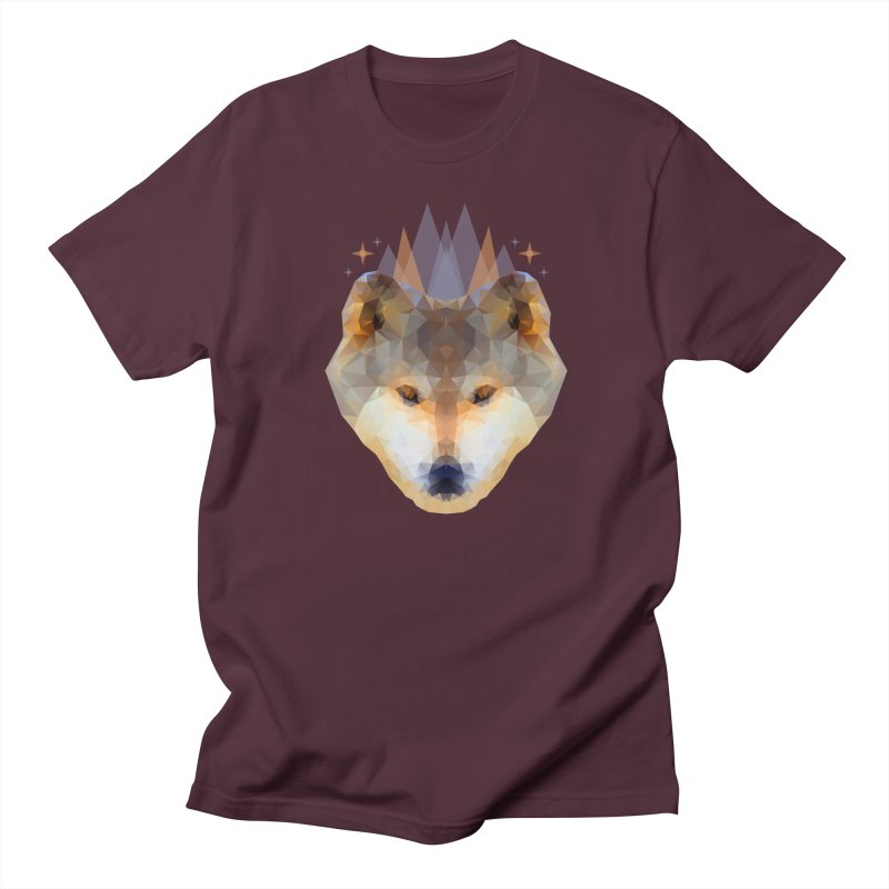 Wolf Low Poly Orange Men's T-Shirt by Imagi Factory