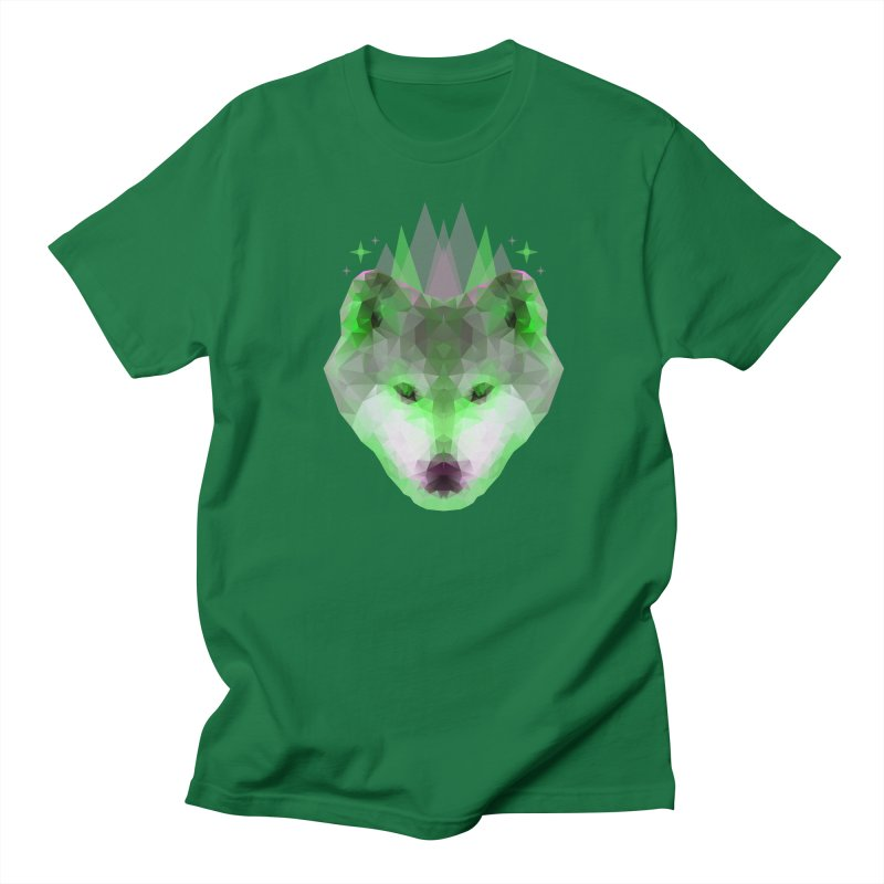 Wolf Low Poly Green Men's T-Shirt by Imagi Factory