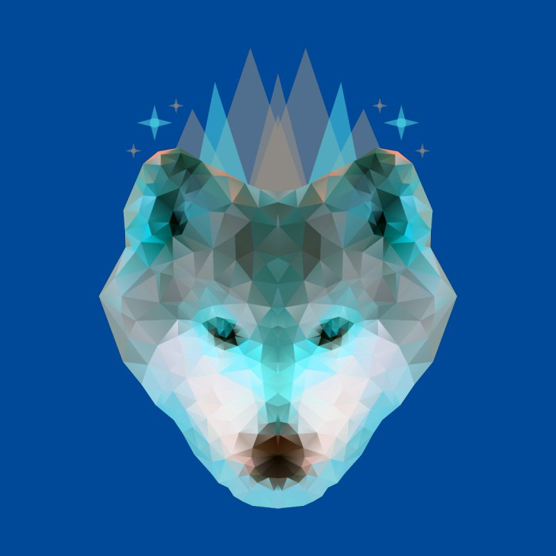 Wolf Low Poly Blue Men's T-Shirt by Imagi Factory