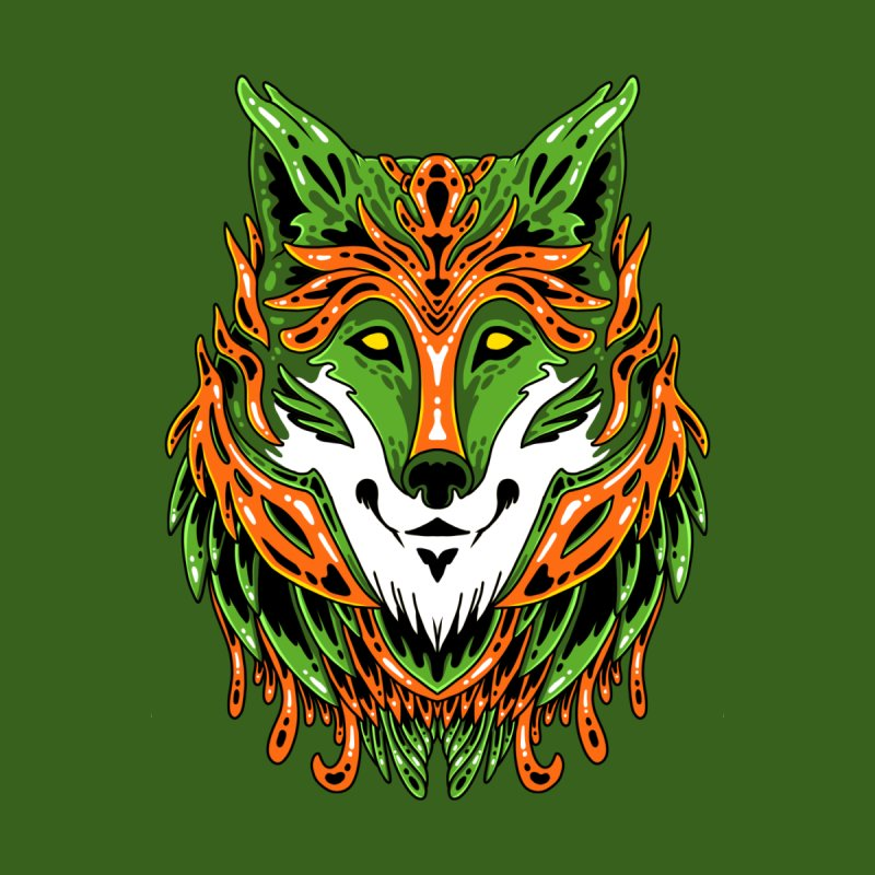 Green Wolf Men's T-Shirt by Imagi Factory