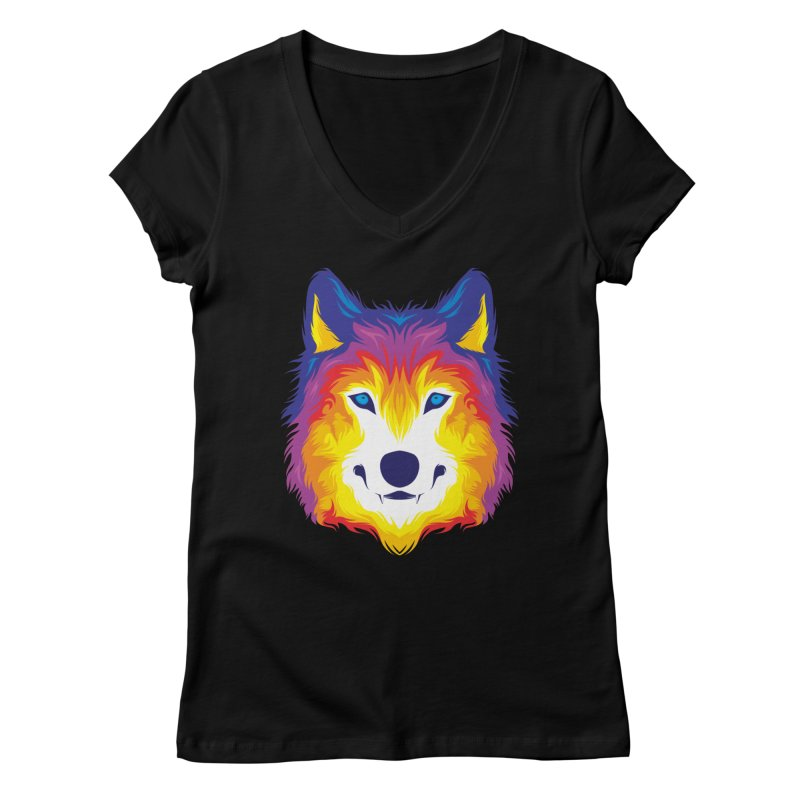 Wolf in color Women's V-Neck by