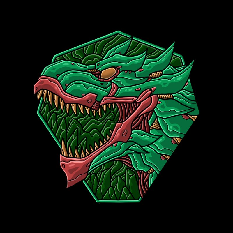 Mecha T-Rex Badge Green Accessories Neck Gaiter by