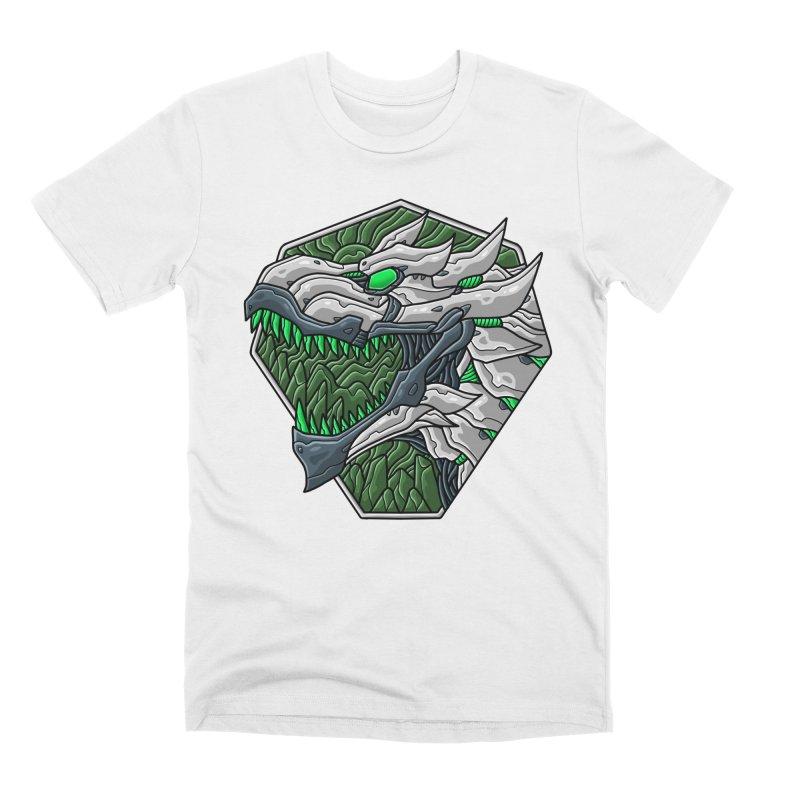 Mecha T-Rex Badge White Men's T-Shirt by