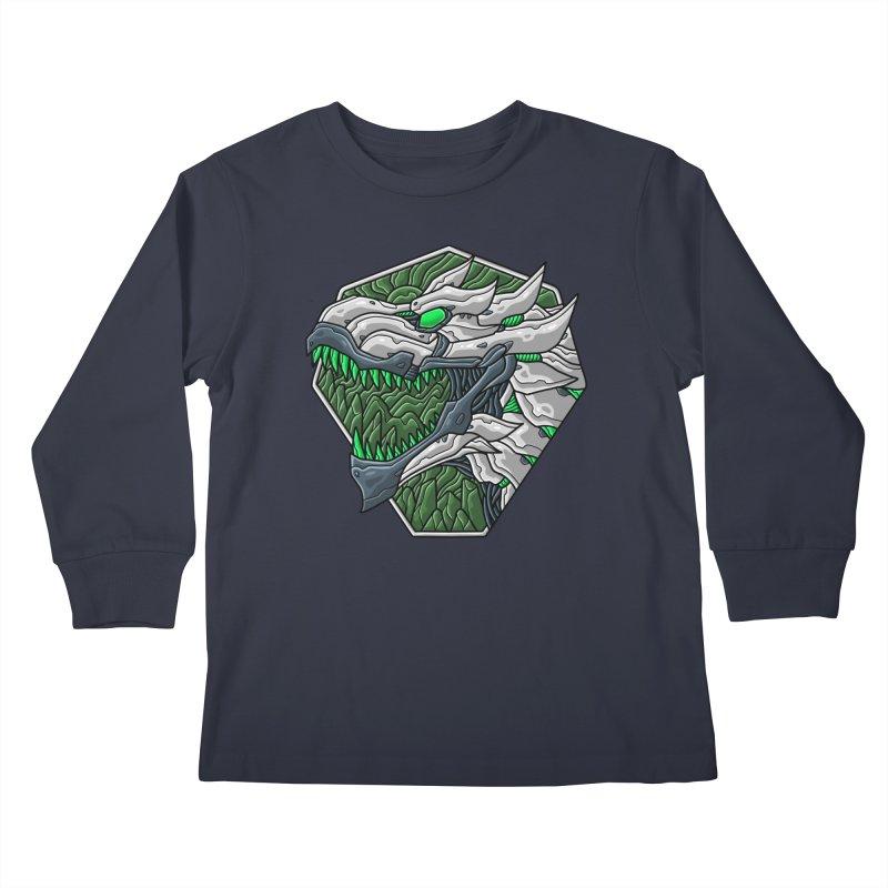Mecha T-Rex Badge White Kids Longsleeve T-Shirt by