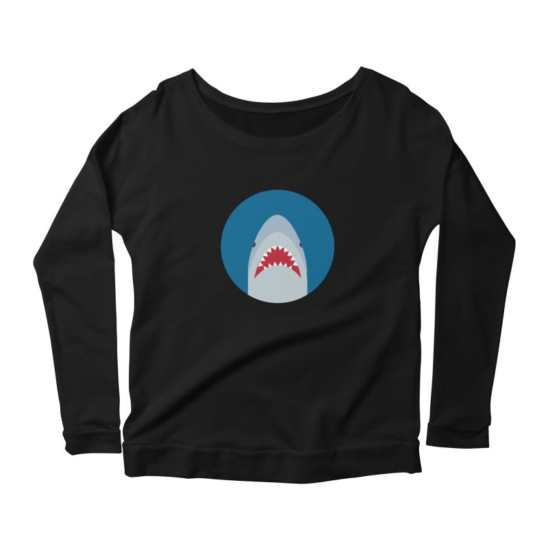 Shark Attack Women's Longsleeve Scoopneck  by imaginarystory's Artist Shop