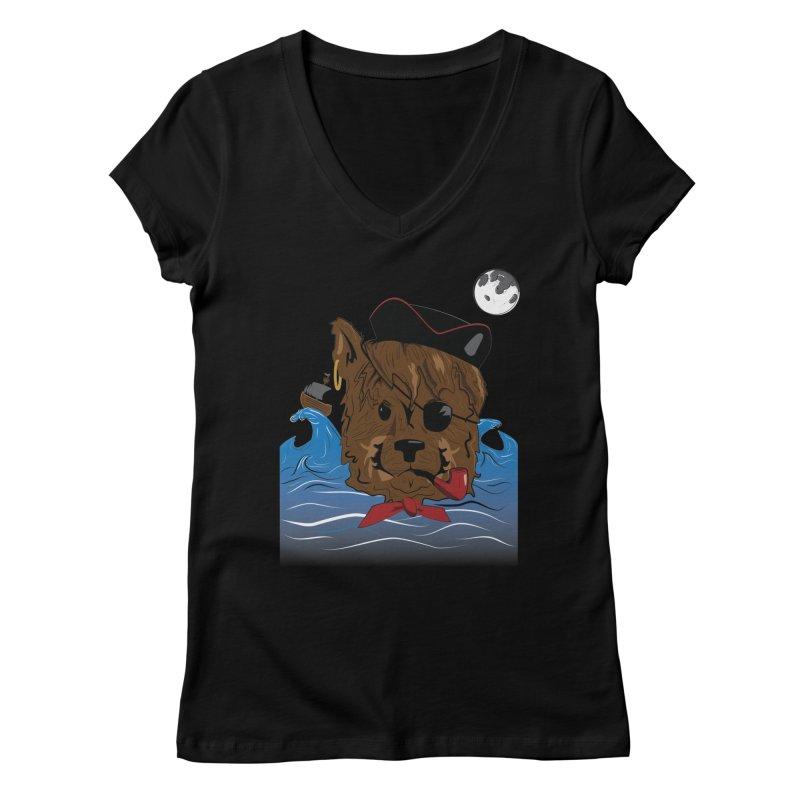 Pirate Pup Women's V-Neck by imintoit's Artist Shop