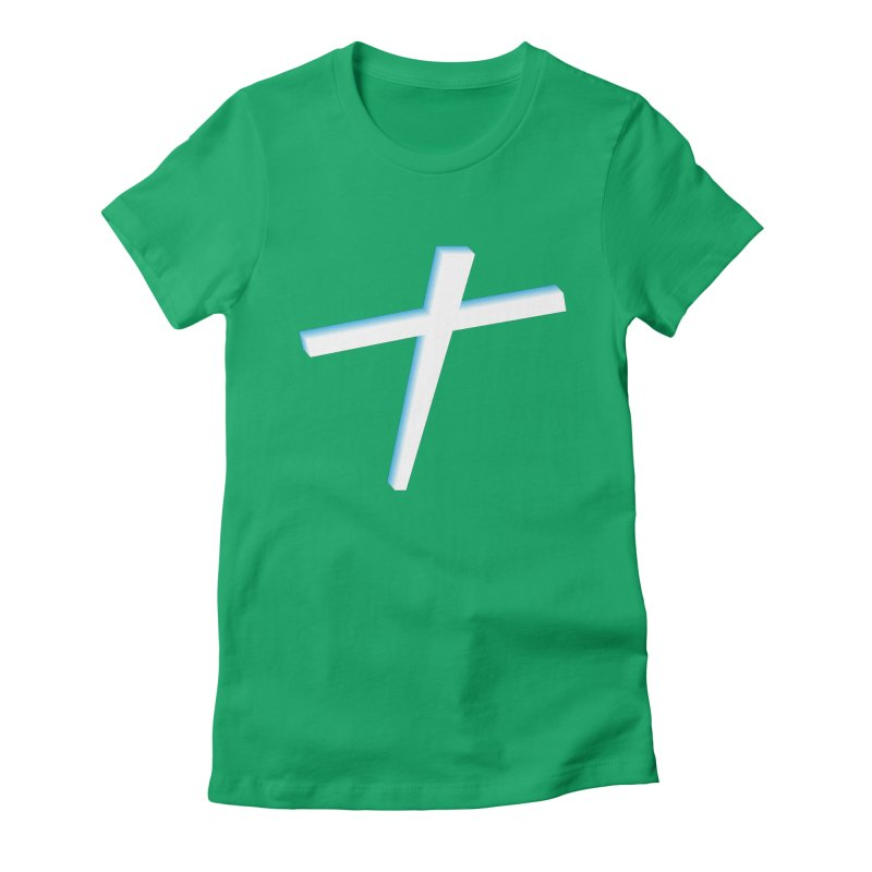 White Cross Women's Fitted T-Shirt by immerzion's t-shirt designs
