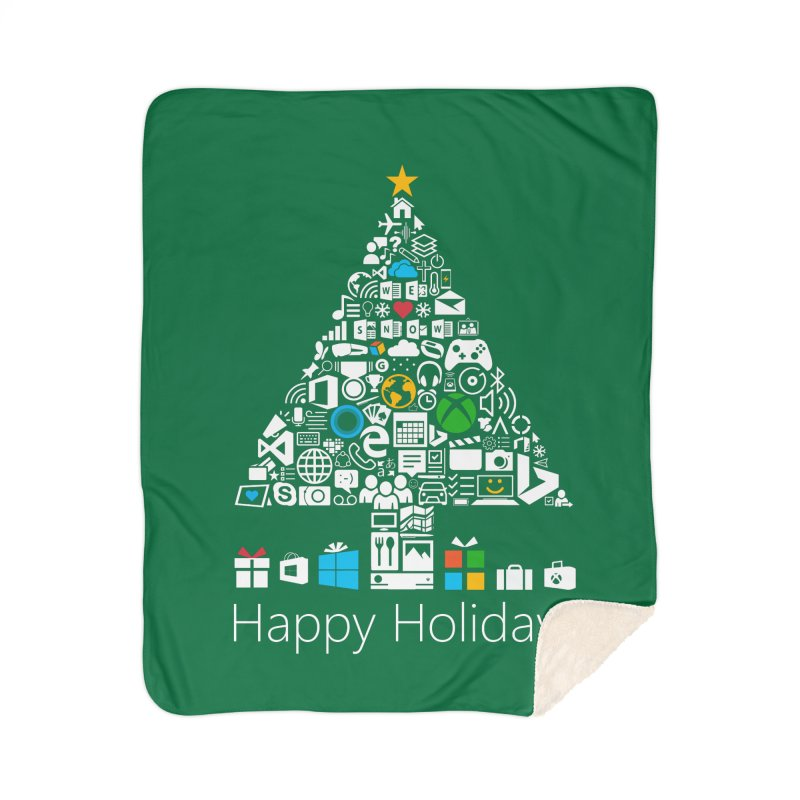 Microsoft Christmas Home Sherpa Blanket Blanket by immerzion's t-shirt designs