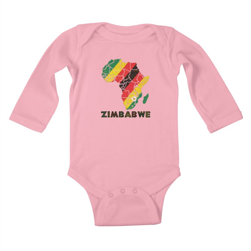 Zimbabwe Kids Baby Longsleeve Bodysuit by immerzion's t-shirt designs