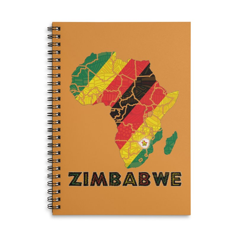 Zimbabwe Accessories Lined Spiral Notebook by immerzion's t-shirt designs