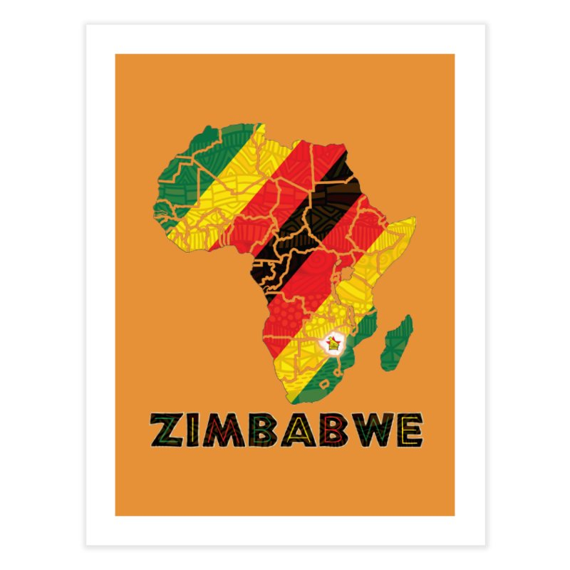 Zimbabwe Home Fine Art Print by immerzion's t-shirt designs