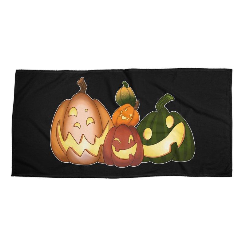Happy Pumpkin Pals Accessories Beach Towel by impistry's Artist Shop