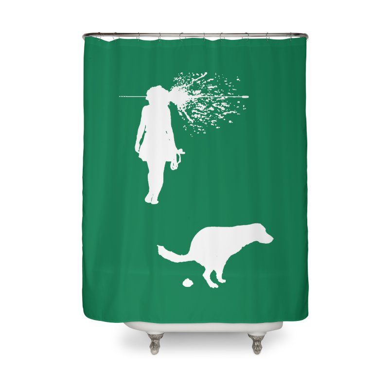 Walking Away - White Home Shower Curtain by Inappropriate Wares