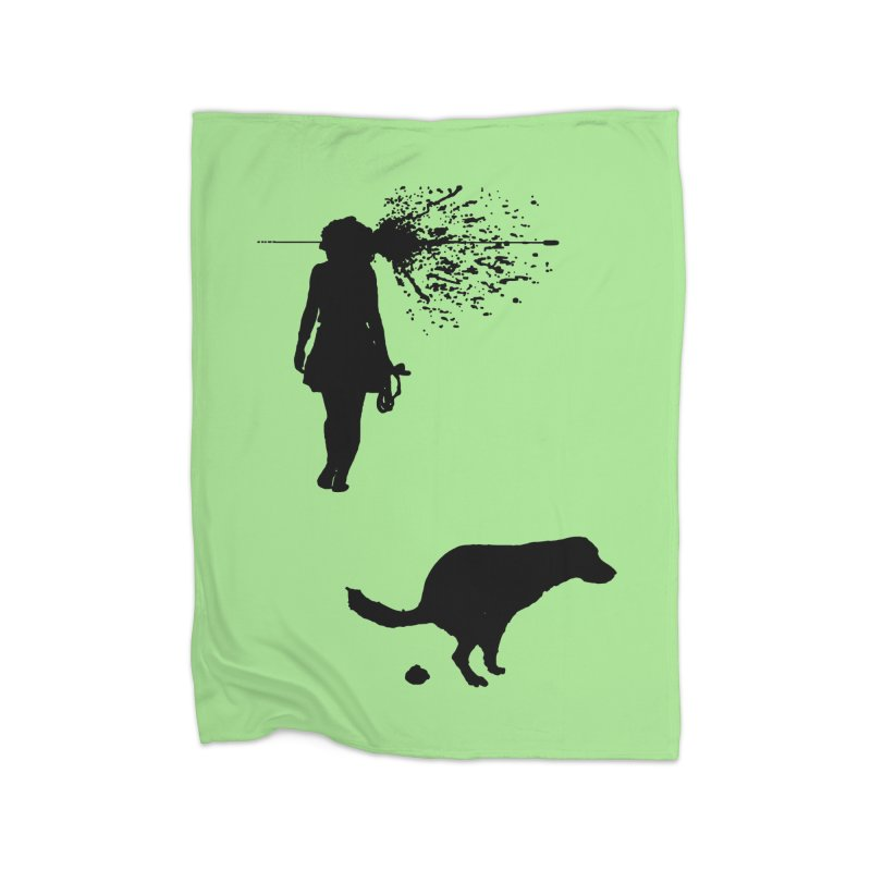 Walking Away - Black Home Fleece Blanket Blanket by Inappropriate Wares