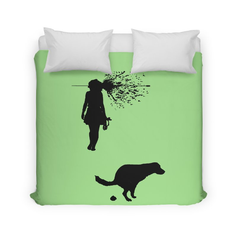 Walking Away - Black Home Duvet by Inappropriate Wares