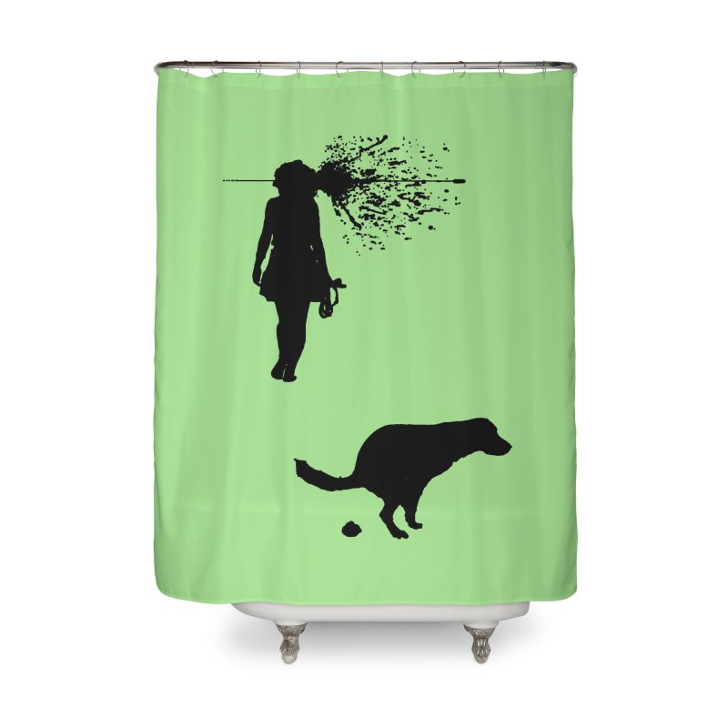 Walking Away - Black Home Shower Curtain by Inappropriate Wares