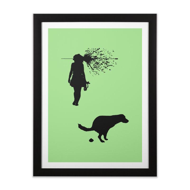 Walking Away - Black Home Framed Fine Art Print by Inappropriate Wares