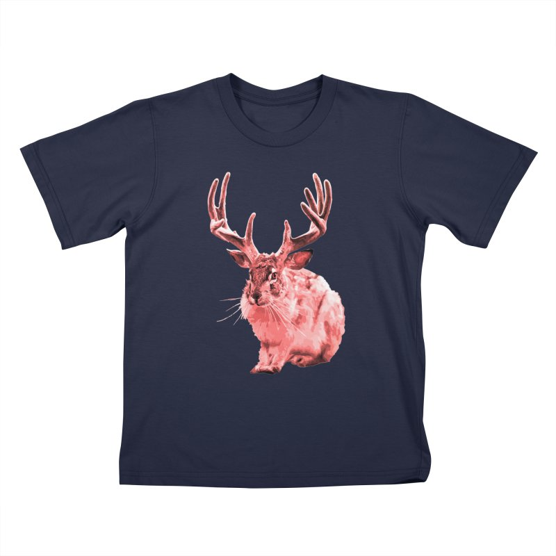 Jackelope - Pink Kids T-Shirt by Inappropriate Wares
