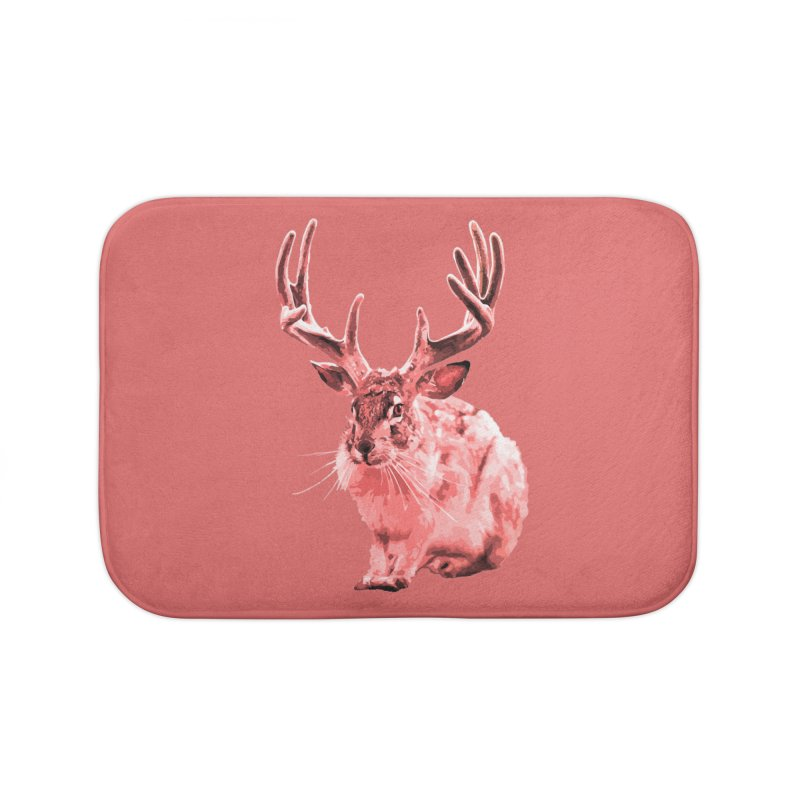 Jackelope - Pink Home Bath Mat by Inappropriate Wares