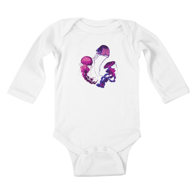 Ring O' Jellyfiish Kids Baby Longsleeve Bodysuit by Inappropriate Wares