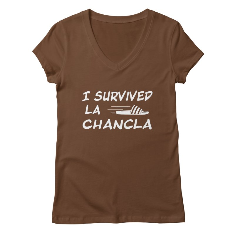 I Survived La Chancla Women's Regular V-Neck by Inappropriate Wares