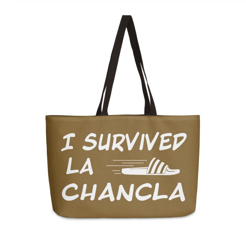 I Survived La Chancla Accessories Weekender Bag Bag by Inappropriate Wares