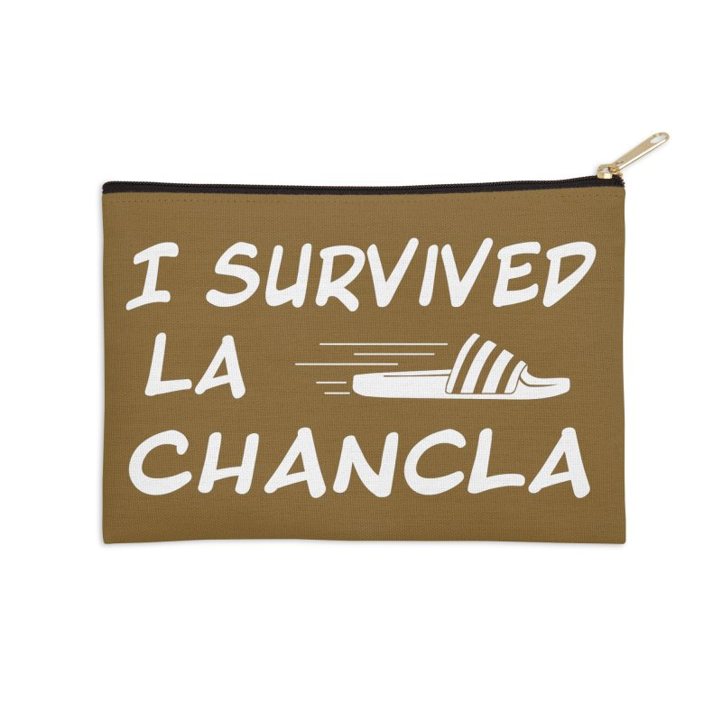 I Survived La Chancla Accessories Zip Pouch by Inappropriate Wares
