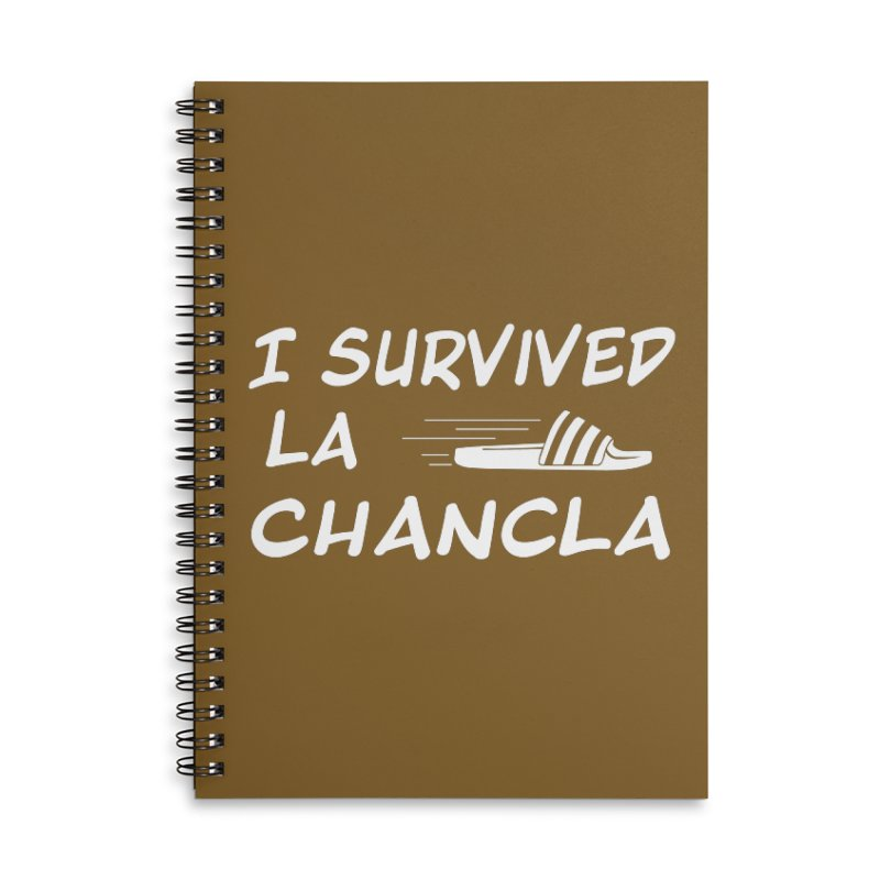 I Survived La Chancla Accessories Lined Spiral Notebook by Inappropriate Wares