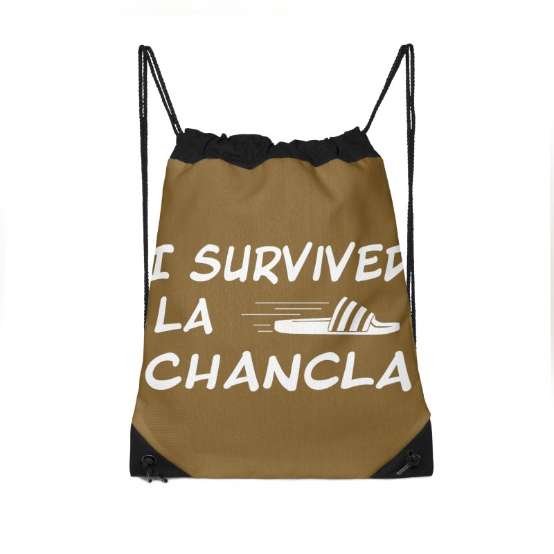 I Survived La Chancla Accessories Drawstring Bag Bag by Inappropriate Wares