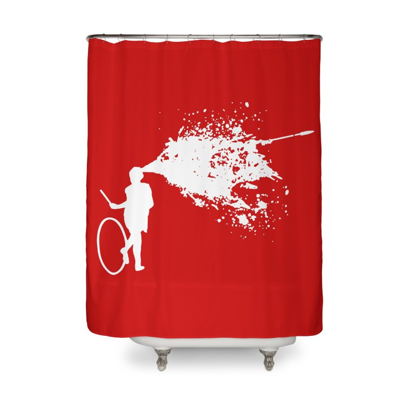 Old School Kill - White Home Shower Curtain by Inappropriate Wares