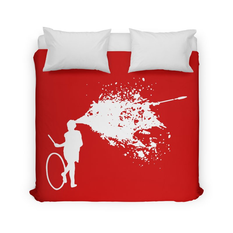 Old School Kill - White Home Duvet by Inappropriate Wares