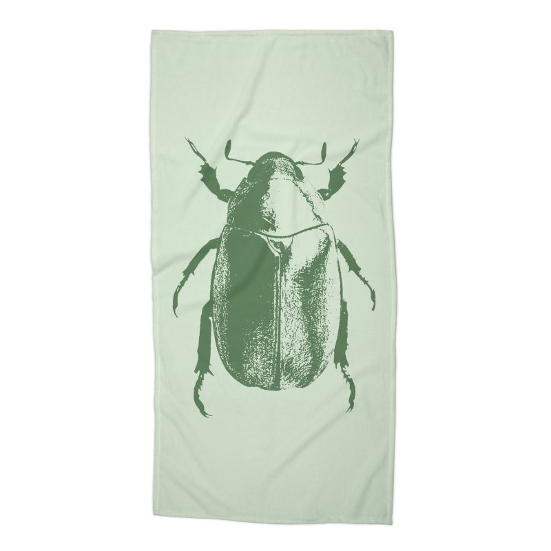 Green Beetle Accessories Beach Towel by Inappropriate Wares