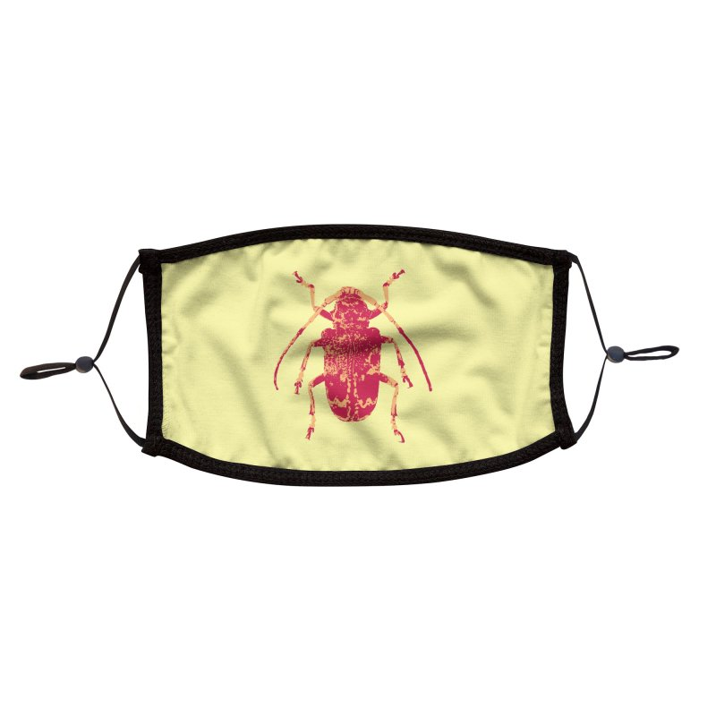 Pink & Peach Beetle Accessories Face Mask by Inappropriate Wares