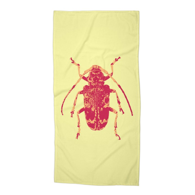 Pink & Peach Beetle Accessories Beach Towel by Inappropriate Wares