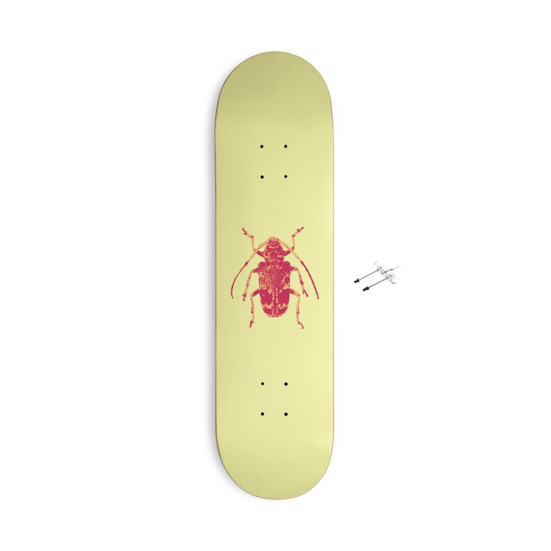 Pink & Peach Beetle Accessories Skateboard by Inappropriate Wares