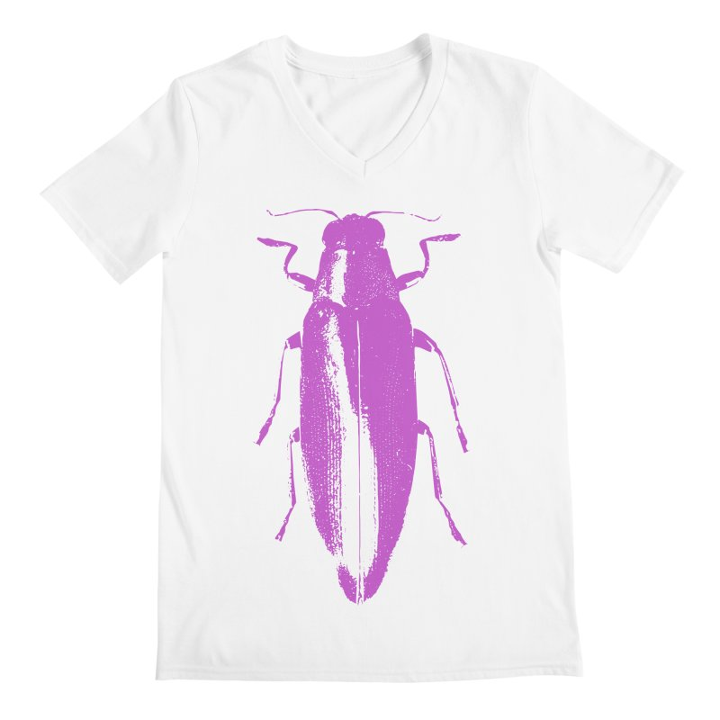 Pink Beetle Men's V-Neck by Inappropriate Wares