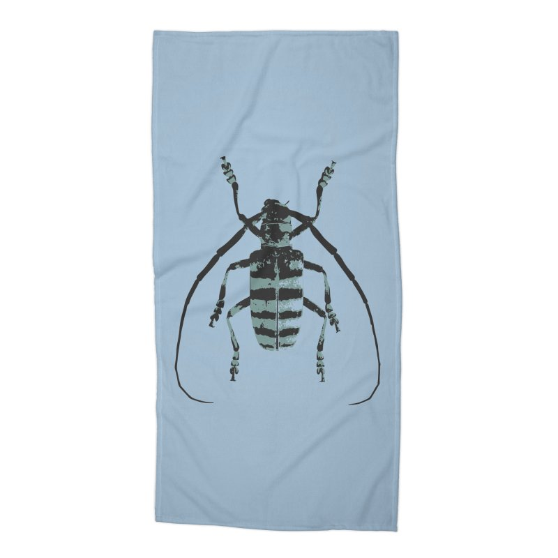 Shades of Blue Beetle Accessories Beach Towel by Inappropriate Wares