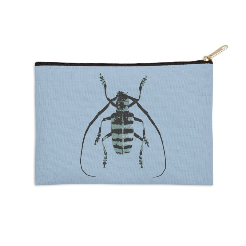 Shades of Blue Beetle Accessories Zip Pouch by Inappropriate Wares