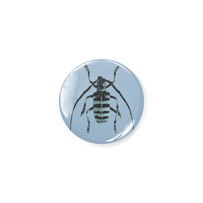 Shades of Blue Beetle Accessories Button by Inappropriate Wares
