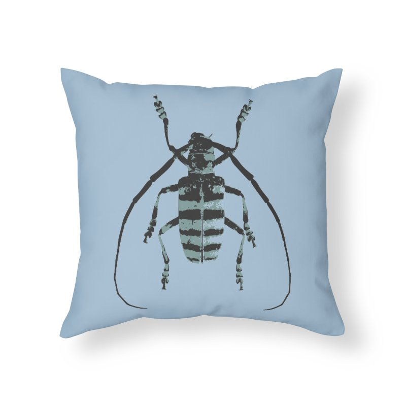 Shades of Blue Beetle Home Throw Pillow by Inappropriate Wares