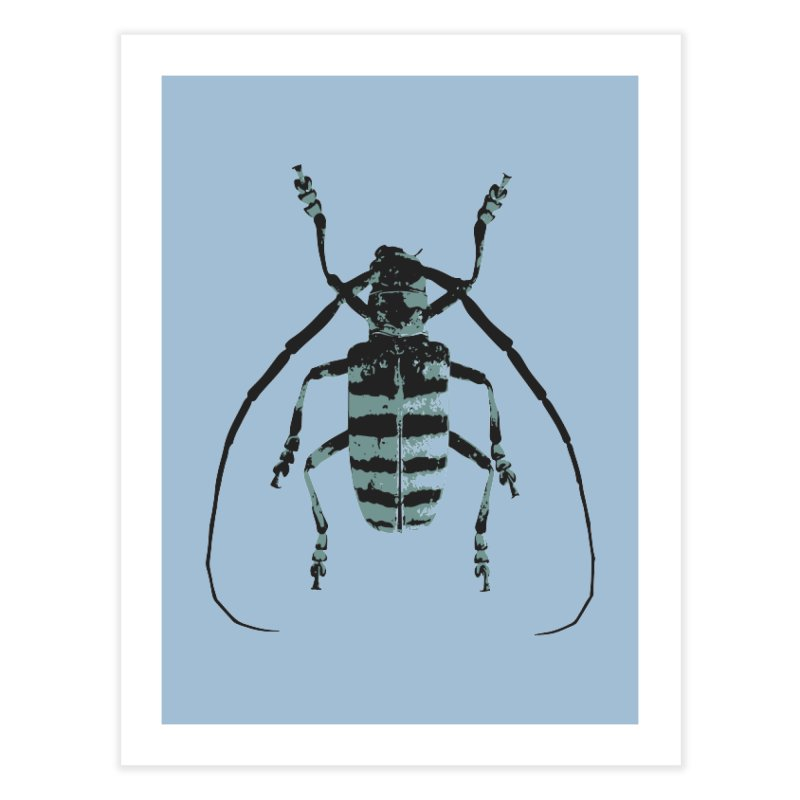 Shades of Blue Beetle Home Fine Art Print by Inappropriate Wares