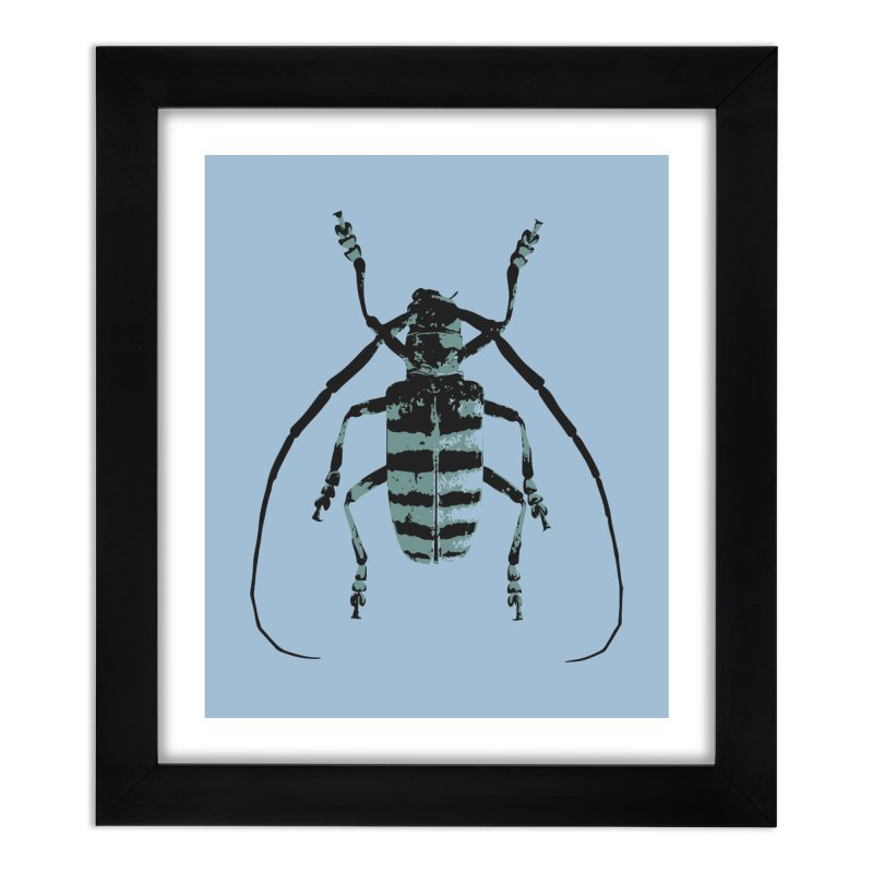 Shades of Blue Beetle Home Framed Fine Art Print by Inappropriate Wares