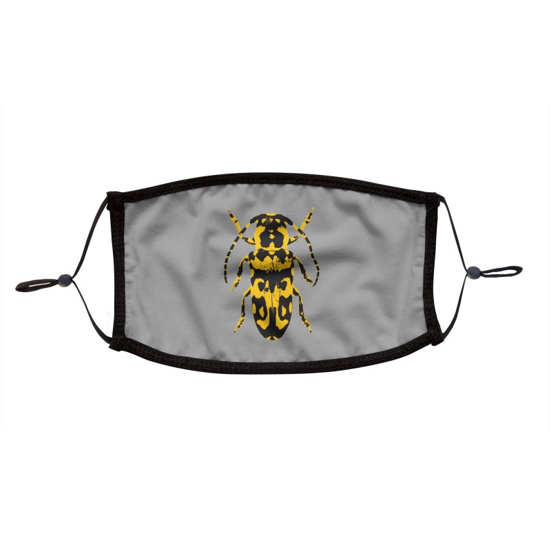 Yellow & Black Beetle Accessories Face Mask by Inappropriate Wares