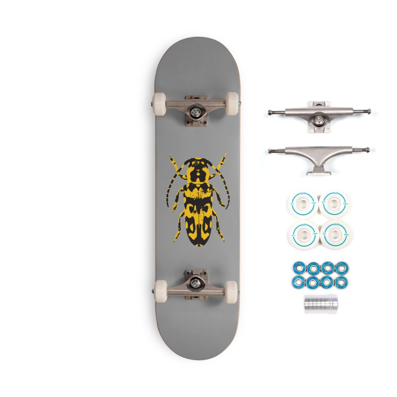 Yellow & Black Beetle Accessories Skateboard by Inappropriate Wares