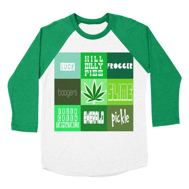 GREEN Men's Baseball Triblend Longsleeve T-Shirt by Inappropriate Wares