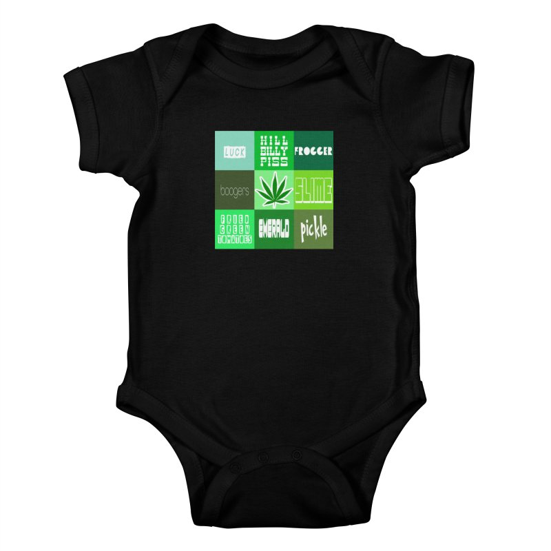 GREEN Kids Baby Bodysuit by Inappropriate Wares